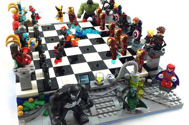 Action figures on a chess board