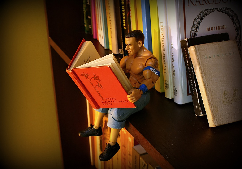 A very buff action figure sits on the edge of a bookcase and reads a red book.