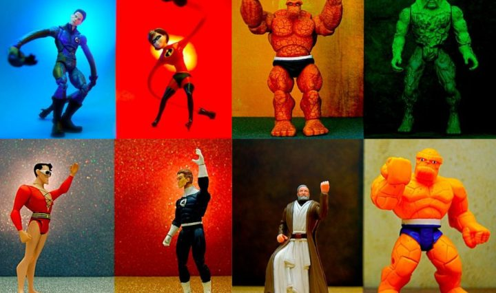 Eight action figures stand against differently colored backgrounds. Some of them have one or both hands raised up in the air.