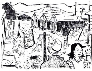 A Mine Okubo illustration, from DiscoverNikkei.org.