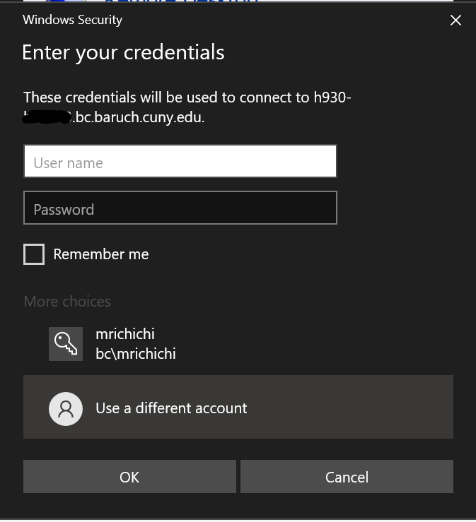 Username and password entry screen
