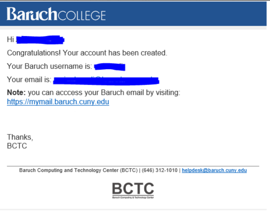 Email confirming account claming and directing users to webmail.baruch.cuny.edu and telling them their email address.