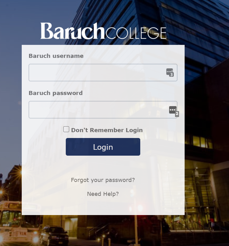 Login screen for Baruch College
