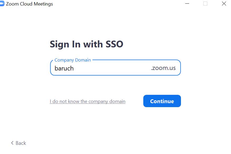 SSO Sign In organization enry