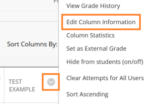 Edit Column Settings