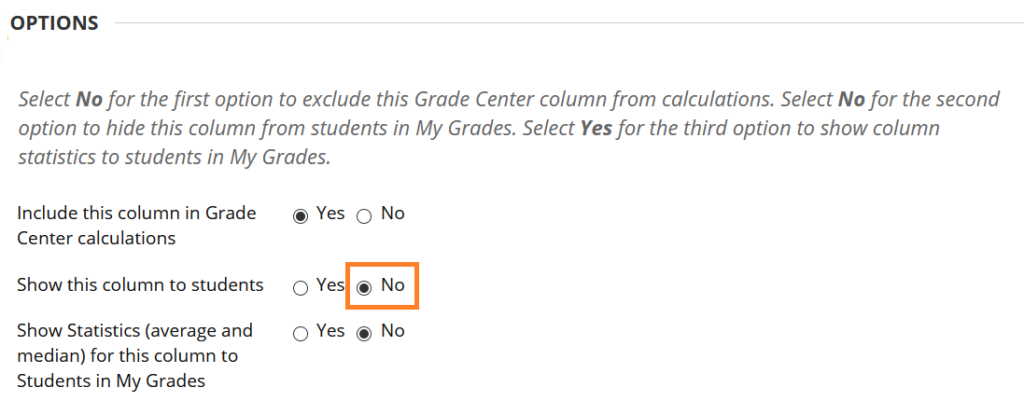 Show columns Option in Blackboard