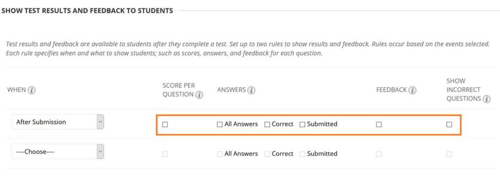 Screenshot of Blackboard Show Test Results Option