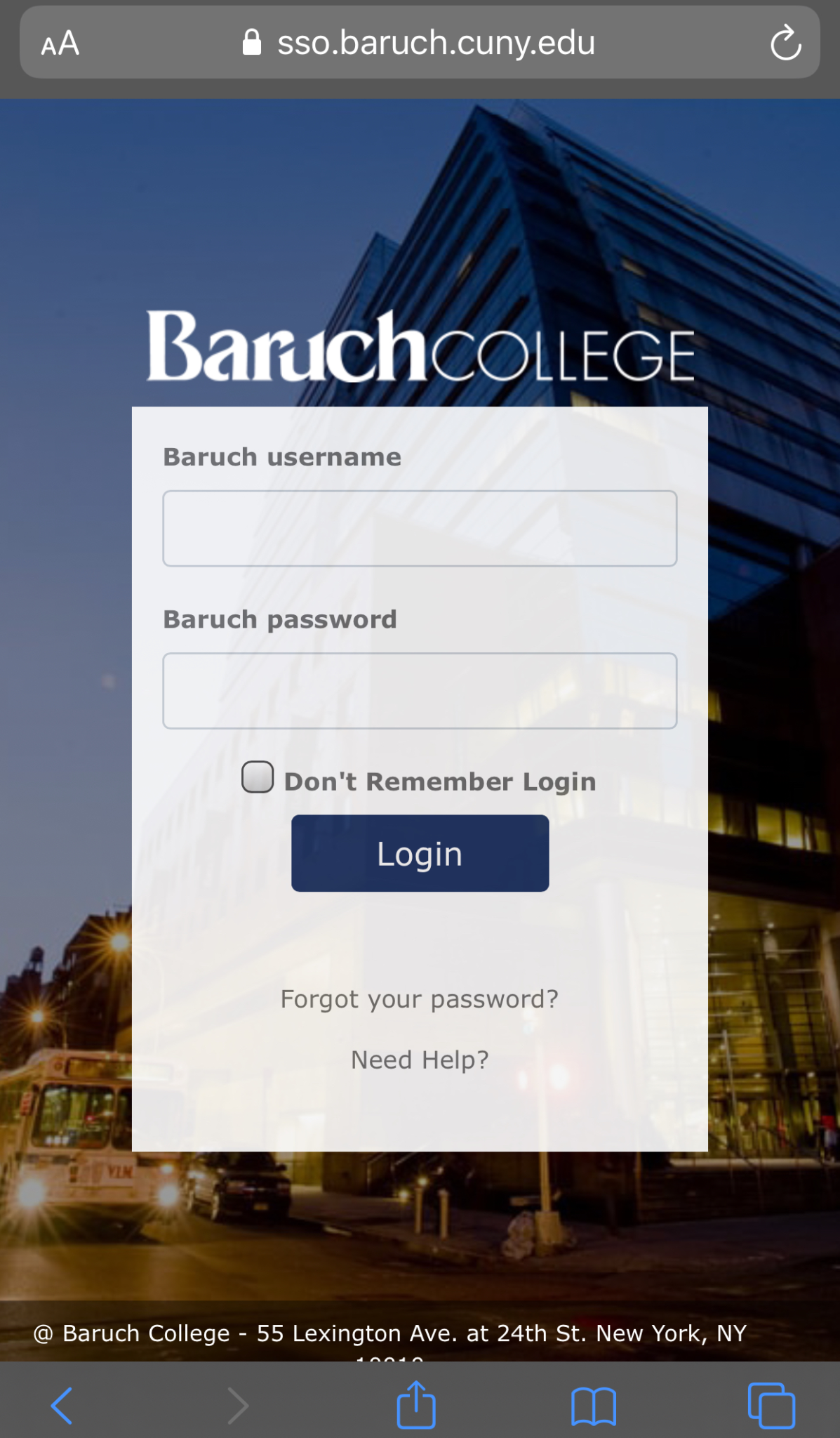 Zoom for iPhone - Baruch Login