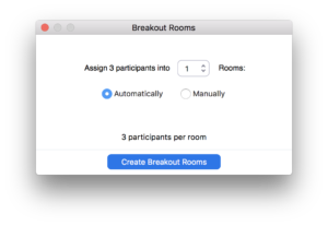 Pop-up to create breakout rooms