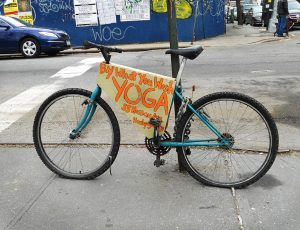 Hosh Yoga uses this bicycle, parked at different spots in Williamsburg and Greenpoint, to make its presence known.