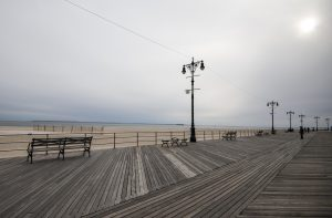 Coney Island's famous Boardwalk, bustling in summer, stretches for 2.5 miles along the shoreline.  Photo by Emma Kazaryan
