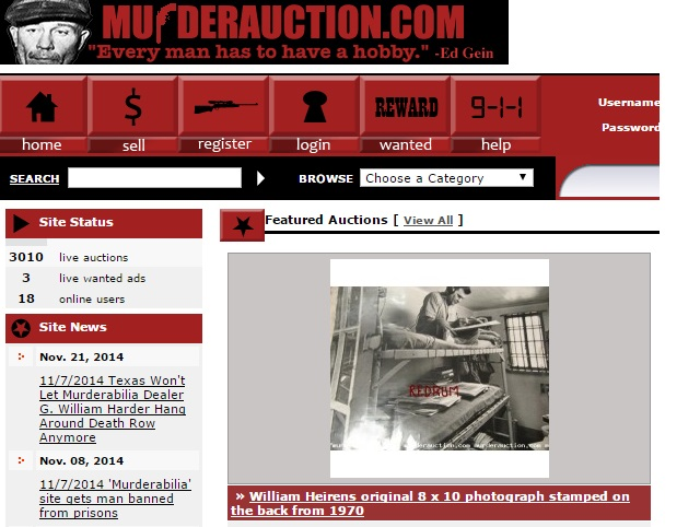 MurderAuction.com is among web sites that sell 'murderabilia,' to the dismay of families of some murder victims.