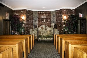 Services are held in the Nieberg Midwood Chapel.