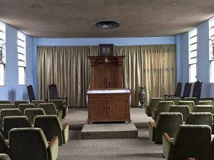 Shabbat services, led by members because the synagogue has no rabbi, are held in this room (Photo by Jared Swedler)