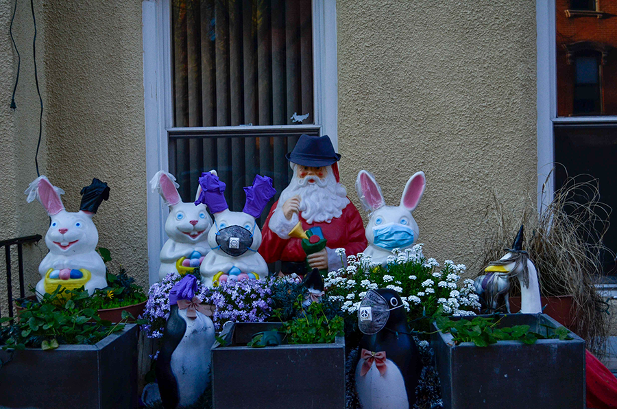 A display of decorations on Noble Street, which always is costumed for various holidays throughout the year, now features face masks and plastic gloves.