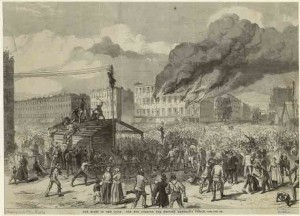 The riots in New York  the mob burning the provost Marshals office (1863), NYPL