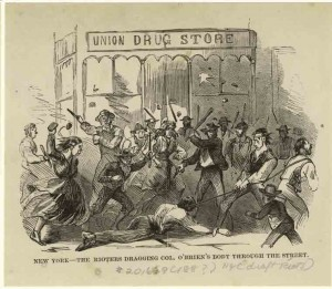 The Rioters Dragging Col. O'Brien's Body Through the Street 1880, NYPL