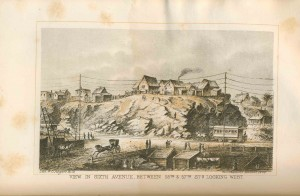 View in 6th Avenue Between 55th and 57th Streets Looking West 1868