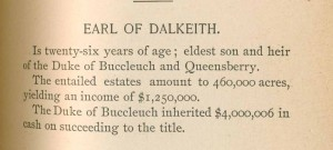 Earl of Dalkeith's inheritance of $4,000,000 would be $103,798,003 in today's money.