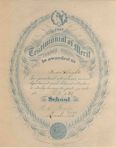 Testimonial of Merit is Awarded to Susie Wright PS 38, March 1878