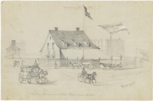 Pencil drawing of the Cattle Show of the American Institute at Madison Cottage.