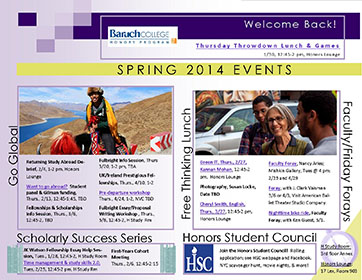 Events flyer Spring 2014 Gallery picture
