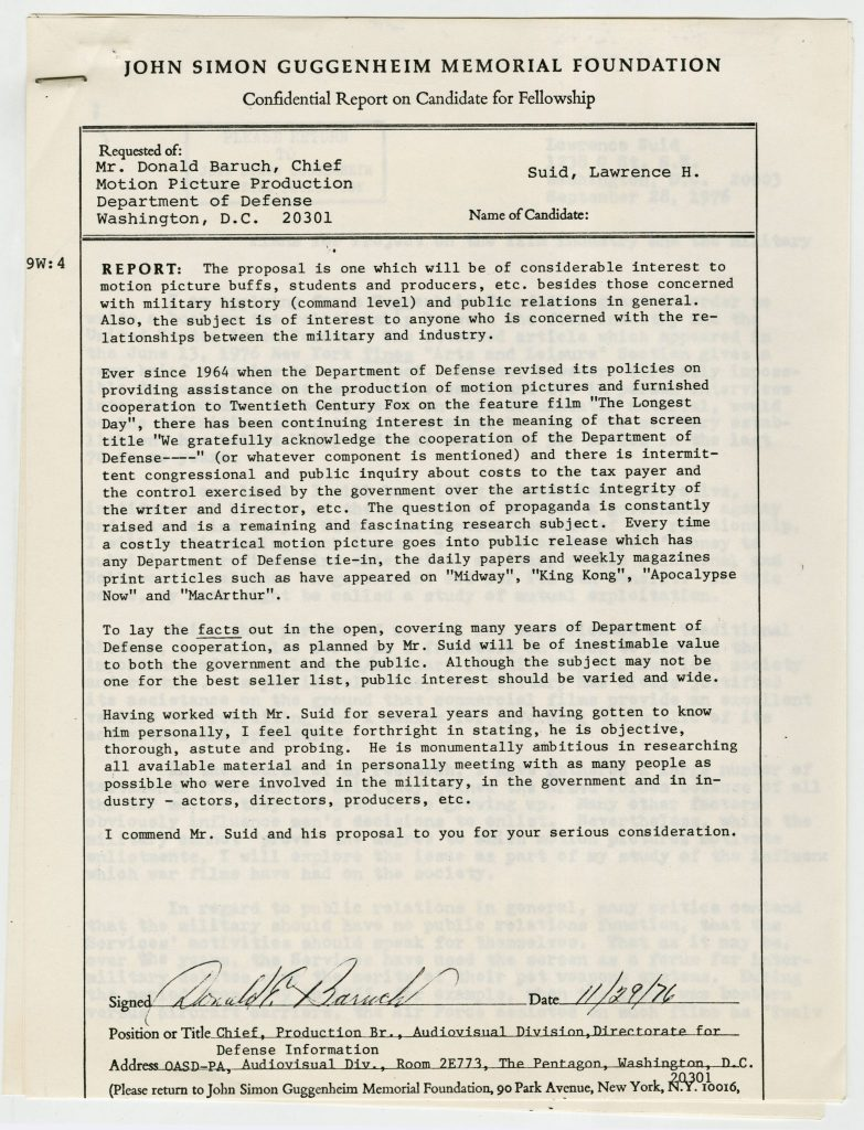 Donald Baruch's letter of recommendation for Larry Suid