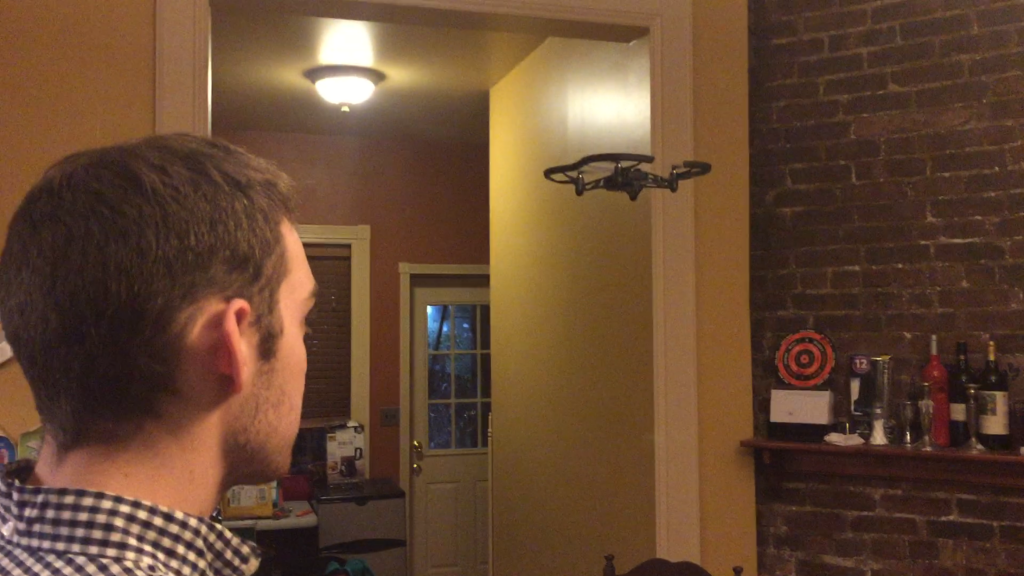 Carmi Muskin, 23, flying his drone inside his apartment in New York. (Photo: Steven Blumenthal)