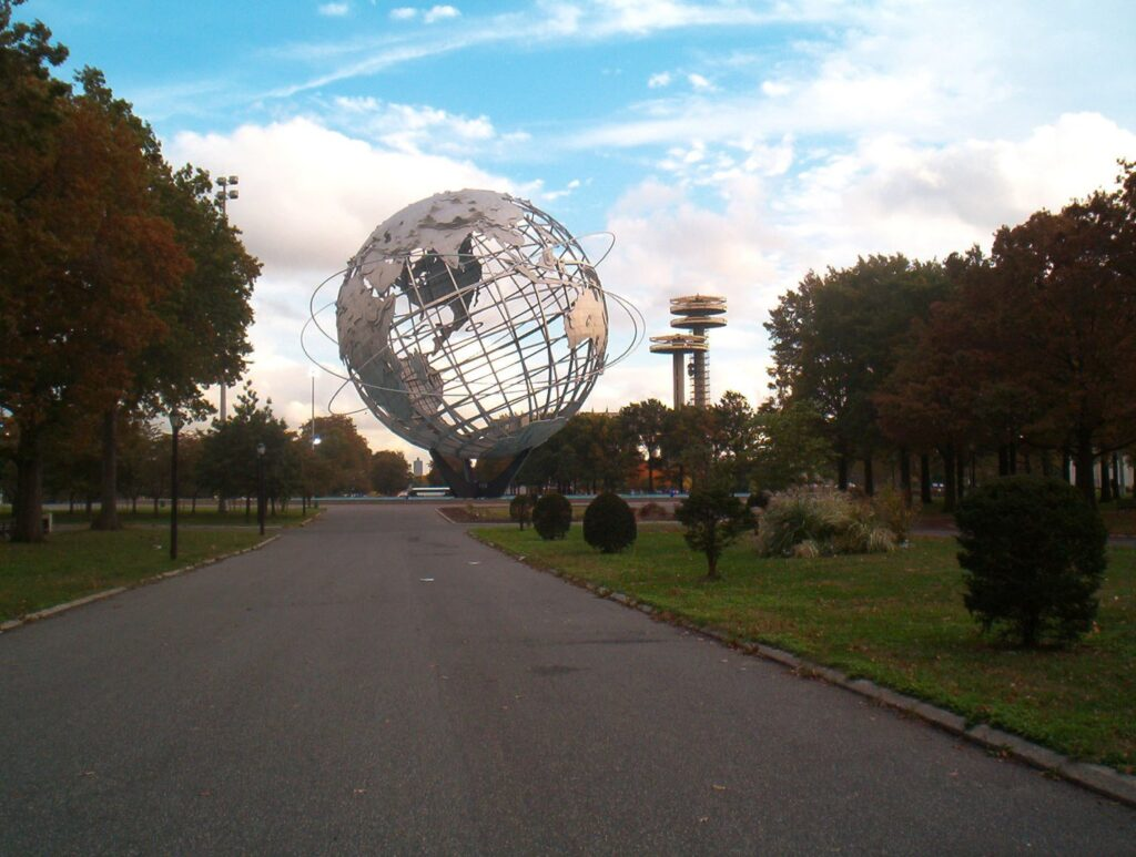 Image of the Unisphere in Flushing Meadows park in Queens.