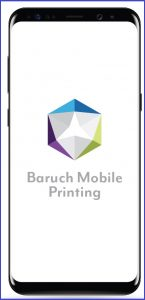 iPhone with logo of Baruch mobile printing service