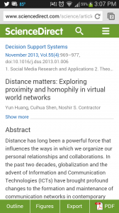 ScienceDirect--article viewed on mobile phone