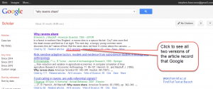 Google Scholar--finding other versions of the article record