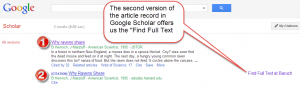Google Scholar--multiple records for the same article