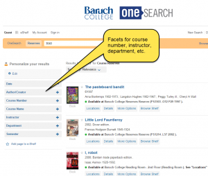 OneSearch--facets for reserve module results
