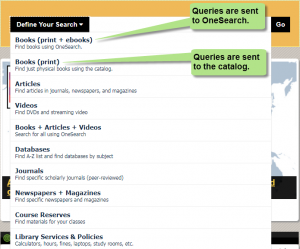 New search bar menu options