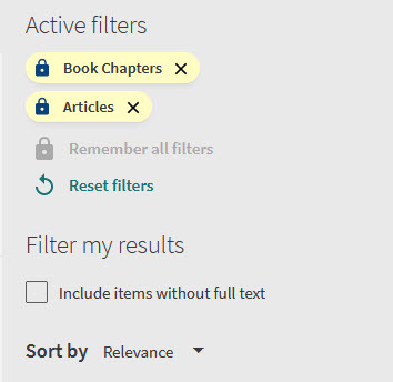 Locked active filters in OneSearch