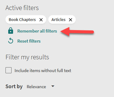 Remember all filters option in OneSearch