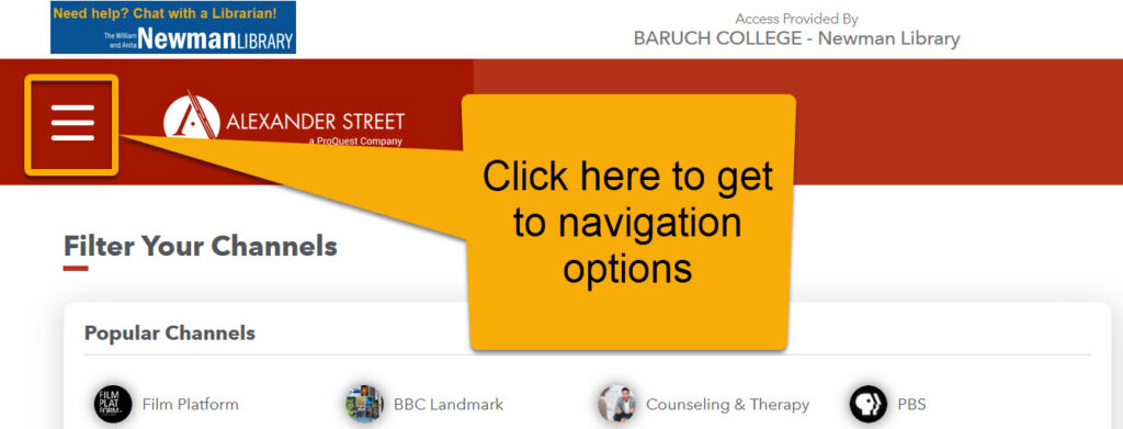 Icon location for navigation options