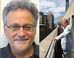 Headshot of Professor Vincent DiGirolamo and photo of the late Peter Dobkin Hall in a white suit standing on a balcony