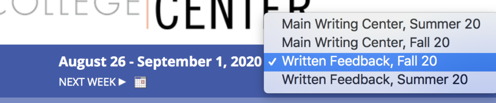 """Image showing where to select """"Written Feedback"""" menu on the schedule."""
