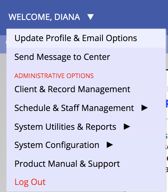 Image of schedule menu for updating profile.